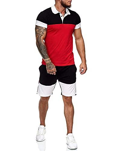 Geagodelia Tuta Uomo Sportiva 2 Pezzi T-Shirt + Pantaloncini Tuta Estiva Maniche Corte Girocollo Set Completo Casual Maglietta M-3XL Jogging Corso Palestra (A-Rosso, X-Large)