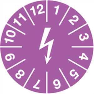 Testplaketten voor het markeren van elektrische inrichtingen violet 15 mm Ø documentfolie met speciale lijm voor licht olieachtige en oneffen ondergronden 100 stuks/soort.