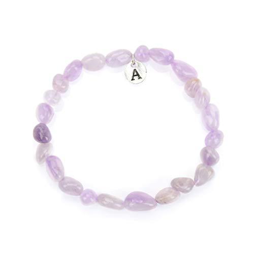 Adabele 1pc Natural Purple Lavender Jade Gemstone Bracelet 7 inch Stretchy Chakra Gems Stones Healing Crystals Energy Quartz Rocks GB-A19