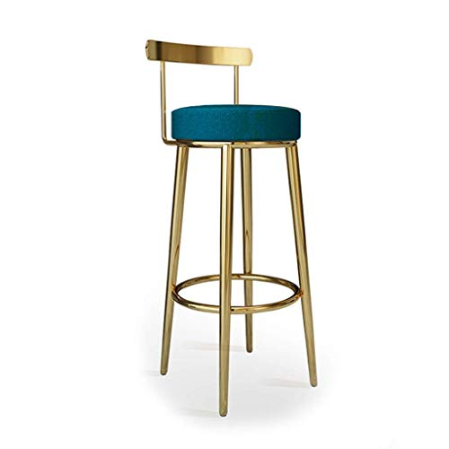 Bar Stools High chair home stainless steel metal back counter stool multicolor Non-slip (Color : Black, Size : 65cm) (Color : Dark Blue, Size : 75cm)