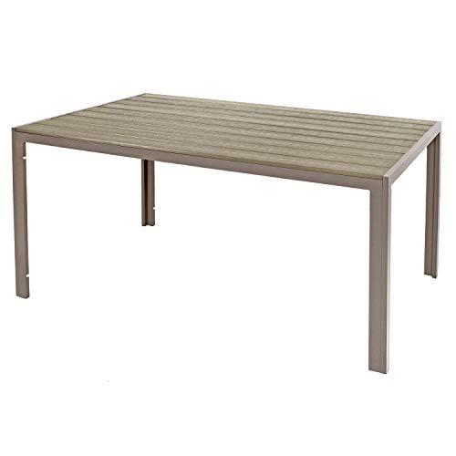 Mojawo Aluminium Gartentisch Champagner/Champagner Esstisch Gartenmöbel Tisch Polywood Holzimitat wetterfest 150x90x74cm