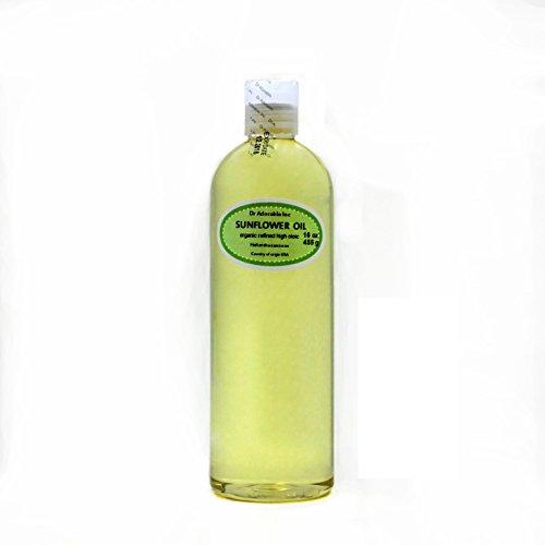 Organic Pure aceites portador prensado en frío 16oz/1pinta (girasol refinado aceite)