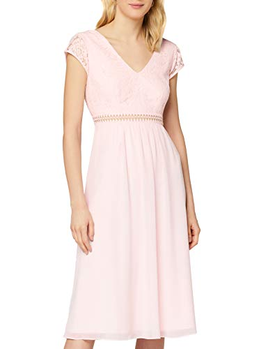 TRUTH & FABLE Damen Midi Chiffon-Kleid mit A-Linie, Rosa (Rosenwasser), 42, Label:XL