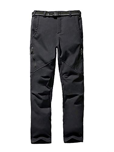 Asfixiado Kids Ski Pants,Boys Youth Fleece Lined Windproof Waterproof Hiking Snow Soft Shell Warm Insulated Trousers #9037 Black-L