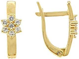 Brinco Trava Flor Estrela com Pedras de Ouro 18k