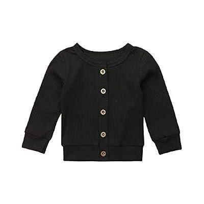 Seyurigaoka Newborn Baby Boys Girls Knit Cardigan Sweater, Infant Button-Down Cotton Sweater, Unisex Baby Clothes (Black, 0-3 Months)