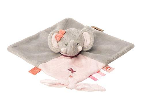 Nattou Schnuffeltuch Elefant Adèle, Adèle und Valentine, 27 x 27 x 5cm, Grau/Rosa