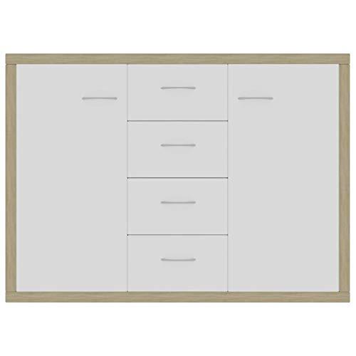 WooDlan Aparador Salon   Aparador Salon Comedor   Armario de Almacenamiento  Armarios de salón Aglomerado Blanco y Roble Sonoma, 88x30x70 cm