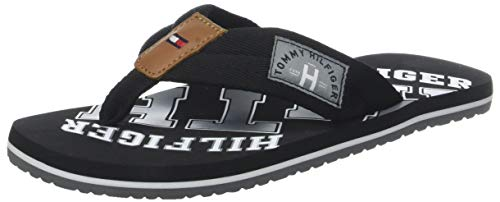 Tommy Hilfiger Essential TH Beach Sandal, Chanclas para Hombre, Negro (Black 990), 44 EU