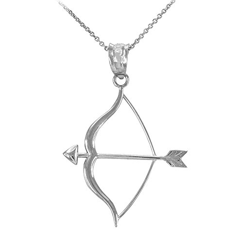 High Polish 925 Sterling Silver Bow and Arrow Pendant Necklace, 22'