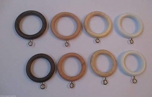 IRONMONGERY WORLD10 X Wooden Wood Curtain Pole Rod Rings with Eyelet Drapery Rings (Dark Walnut 45MM- Large)