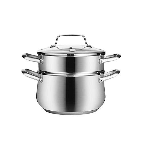 Dampfgarer,Gesundes Kochen 2-Schicht-Lebensmittel Reis Gemüse Dampfer Edelstahl Dampfer Induktionsherd Set Glasabdeckung Küchengeschirr-20cm