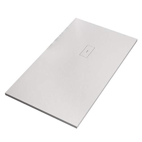 Receveur de douche en marbre minéral, blanc, 2,5 cm, Eye, 90 x 70 cm
