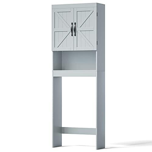 SRIWATANA Over The Toilet Storage Cabinet, Bathroom Organizer with Adjustable Shelf, 2-Door Toilet Storage Rack, Gray