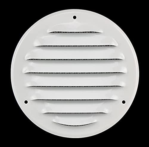 Rejilla de ventilación redonda con protección contra insectos, 100 mm, metal, color blanco