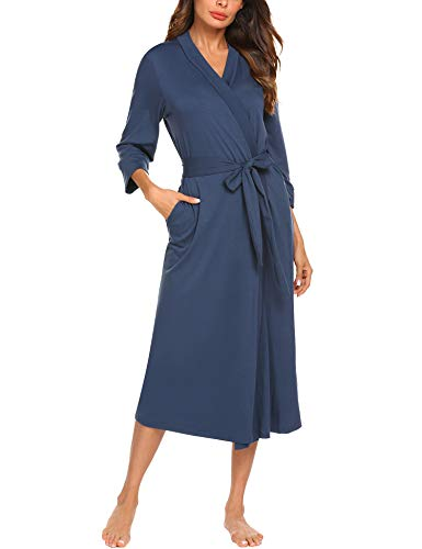 MAXMODA Women Soft Cotton Bathrobe Lightweight Lounge Hospital Robes (Navy Blue, L)