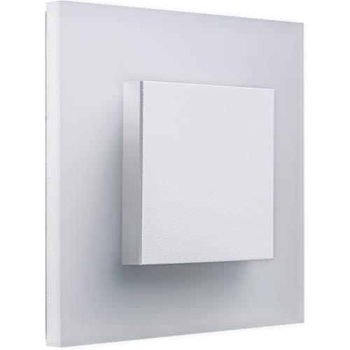 SET LED Treppenbeleuchtung Premium SunLED Pyramid Small 230V 1W Echtes PlexiGlas Treppenlicht mit Unterputzdose Treppen-Stufen-Beleuchtung Wandeinbauleuchte (ALU: Silbergrau; LICHT: Kaltweiß, 5 Stück)