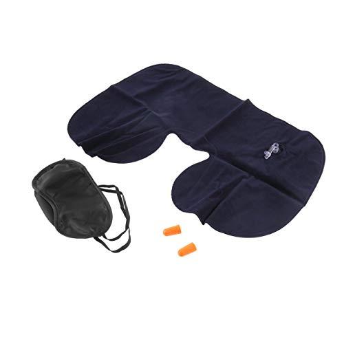 Ashley GAO 1 juego de almohada de cuello de viaje en forma de U, almohada de oficina, vuelo de viaje, cuello descanso, cojín suave, cuidado de la salud, máscara de ojos + 2 tapones para los oídos