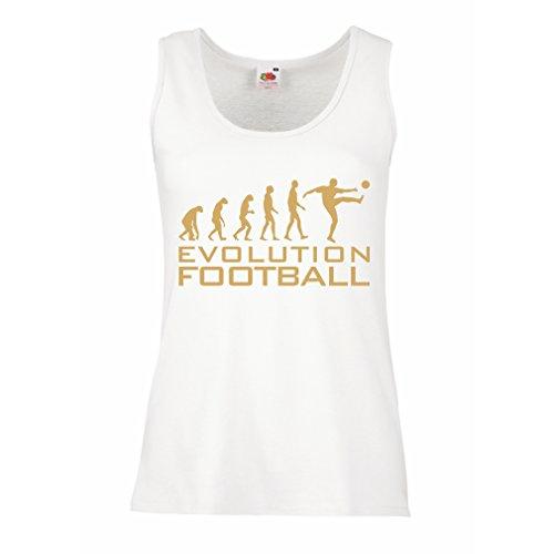 lepni.me Camisetas sin Mangas para Mujer La evolución del fútbol - Camiseta de fanático del Equipo de fútbol de la Copa Mundial (XX-Large Blanco Oro)