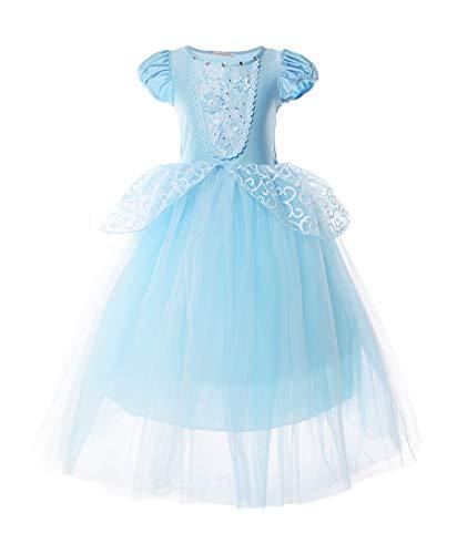 JerrisApparel Aschenputtel Kleid Tüll Prinzessin Kostüm Verkleidung Mädchen (7 Jahre, Etikette Gr: 140, Blau)