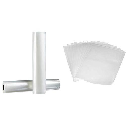 AmazonBasics 30 cm x 600 cm, 2 Rollen für Vakuumierer & Vakuumierbeutel 22cm x 30 cm, 50 Stück