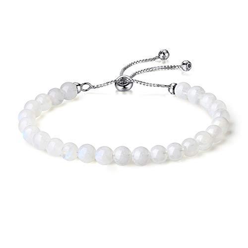 Silbernes Armband mit weißem Mondstein