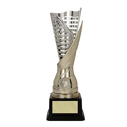 RaRu Extravaganter Fussball-Pokal (Flamme silbergold) mit Ihrer Wunschgravur + 3 Sticker