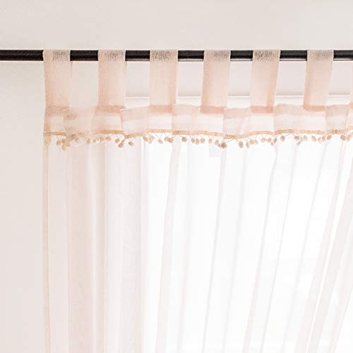 Selectex Linen Look Pom Pom Tasseled Sheer Curtains – Tab Top Voile Curtains for Living and Bedroom, Set of 2 Curtain Panels (52 x 63 inch, Blush)
