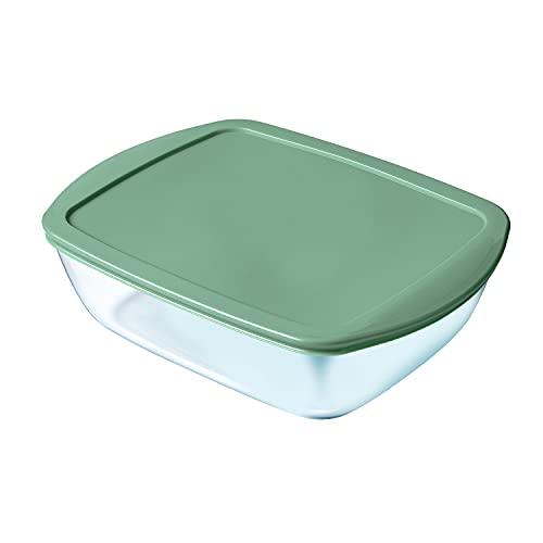 PYREX Cook&Store - Recipiente Rectangular Vidrio Verde 28X20X8Cm, 2,5L