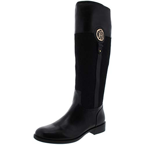 Tommy Hilfiger Womens Ilia 5 Leather Round Toe Riding Boots Black 5 Medium (B,M)