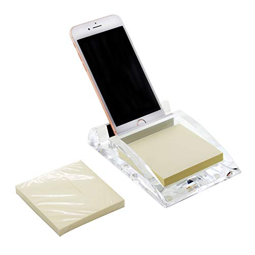 COM.TOP - Acrylic Desk Phone Stand with 3 x 3 Memo Pad,Phone Holder, Office Supplies, Stationery Organizer, Desk Accessories - Clear (Includes One Memo Note)