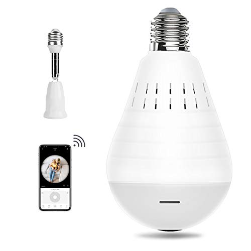 Bulb Camera-Include 32GB Card-Wireless Camera 2.4GHz-Bulb Camera WiFi Outdoor-Wireless Panoramic IP Camera-2MP LED Light Camera Lamp-Remote Floodlight Infrared Night Vision Motion Detection