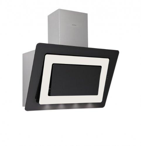 Silverline Alya Premium AYW 994 M Wandhaube / 90 cm / Edelstahl/Glas Schwarz/Magnolie