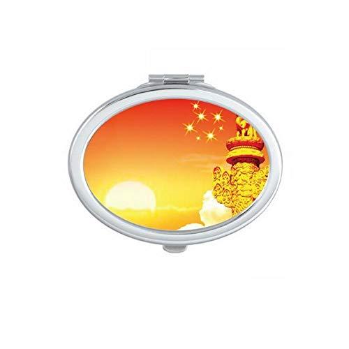 DIYthinker Sun Star Ornamental Columna de la Marca del óvalo Espejo Maquillaje Compacto Regalo Portable Linda Espejos Mano del Bolsillo