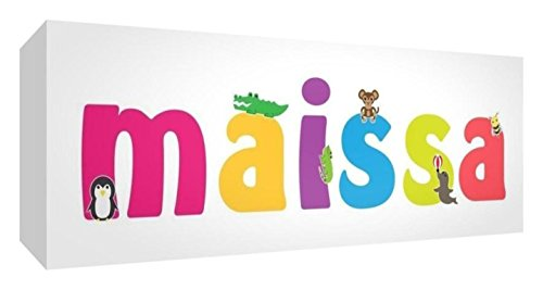 Little Helper Leinwand Box Galerie verpackt mit farbigem Front Panel illustrativen Stil mit dem Namen Mädchenname Maissa 15x 42x 3cm kleine