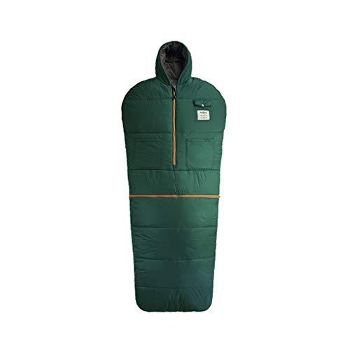 Wusfeng Veste Portable Sac de Couchage Chaud et Confortable Léger Imperméable extérieur Professionne Se Librer Vos Mains Idéal pour Le Camping randonnée randonnée Bleu Vert (Color : Green 1200g)