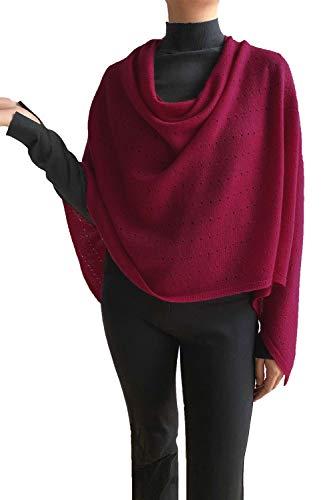 Poncho de cachemir para mujer, bufanda de viaje, chal con botones, de punto, pashmina, portátil, ligera, multisentido, 100% puro, regalo ético, color rojo cereza