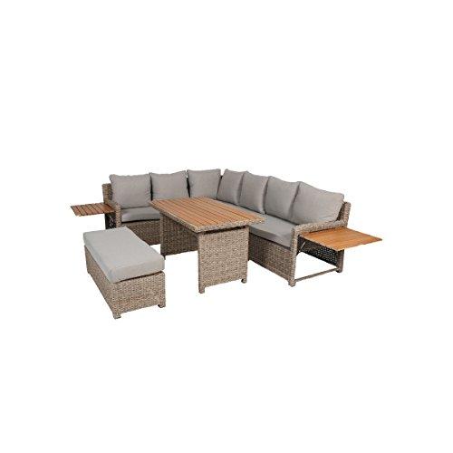 Greemotion Rattan Lounge Set Verona-Loungemöbel mit Esstisch für Garten & Terrasse-Gartenmöbel aus Polyrattan Braun-Beige-Outdoor Loungeset mit Stauraum, 19,2 x 25 x 7,5 cm