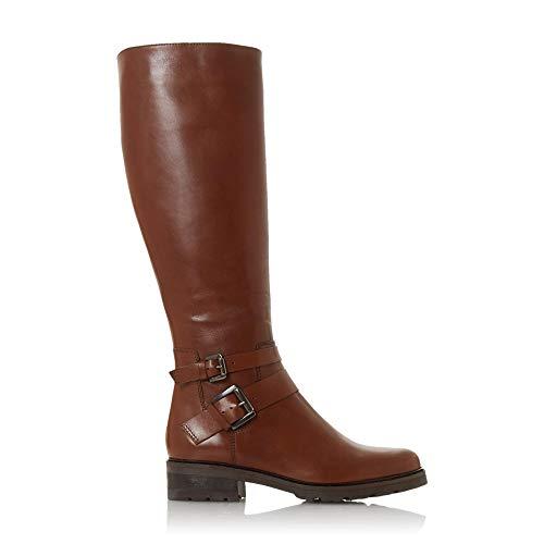 Dune Damen TAMBIE Kniehoher Stiefel mit Zwei Schnallen Hellbraun Größe EUR 41 Hellbraun Blockabsatz