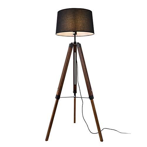 LUX-PRO Lámpara de pie Karlsbad Trípode Moderna Diseño Altura 145 cm Iluminación Interior Luz efectiva 1 x E27 Negro y Marrón