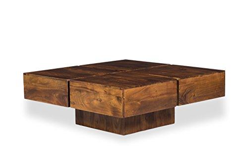 Woodkings® Couchtisch Amberley 80x80cm Holz, Echtholz modern, Design, Massivholz exklusiv, Lounge Coffee Table günstig (Akazie dunkel, 80x80)