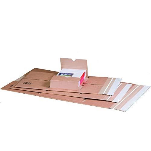 KK Verpackungen® Höhenvariable Versandverpackung für Büchersendungen | 20 Stück, DIN C4, 350x260x70mm | Buchverpackung, mittige Aufnahme mit Selbstklebeverschluss & Aufreißfaden