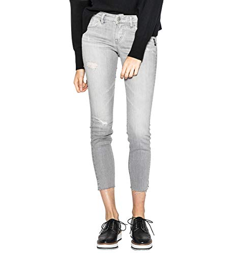 Silver Jeans Co. Damen Aiko Slightly Curvy Fit Mid Rise Ankle Skinny Jeans, Gray Sandblast, 33W x 27L