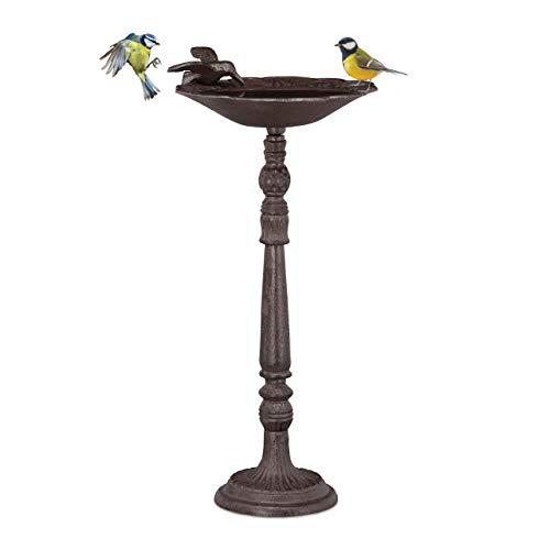 Relaxdays Vogeltränke Gusseisen Gartendeko antiker Stil, Vogelfutterstelle für Wildvögel, stehend,40 cm hoch, Braun