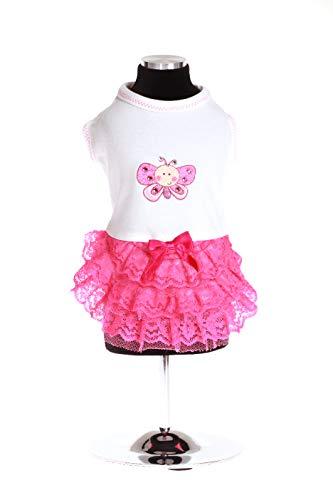 Trilly Tutti Brilli Nikebial Nike Jersey jurk met balsem van kant en afspraken, vlinder en Swarovski stenen, L, wit
