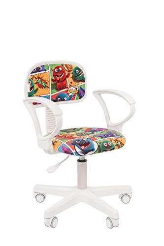 CHAIRJet Sillas de escritorio para niños, superligeras, con reposabrazos, ergonómicas, giratorias, ruedas duraderas, 80 kg, altura ajustable, Kids 101 (monstruos, con reposabrazos)