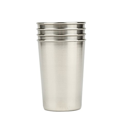 Mirenlife 6 Oz Stainless Steel Camping Cup Set, Portable Outdoor Travel Cups, Coffee Cups with Black Leather Storage Case, Set of 4