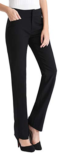 MOVING DEVICE Women's Dress Pant Wear to Work, Stretch Bootcut PantWomen's Dress Pant with Side Pockets, Straight Leg Pant Wear to Work, Zipper Closure Black