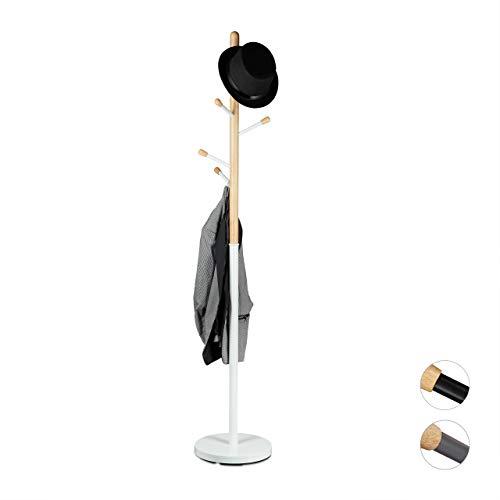 Relaxdays Porte-manteaux design sur pied bois et métal support pour manteaux vestes entrée couloir HxlxP: 180 x 34 x 34 cm, blanc