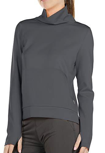 icyzone Damen Rollkragen Langarm Sweatshirt Basic Einfarbig Oberteile Rollkragenpullover (L, Dunkelgrau)